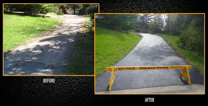 before and after paved lane
